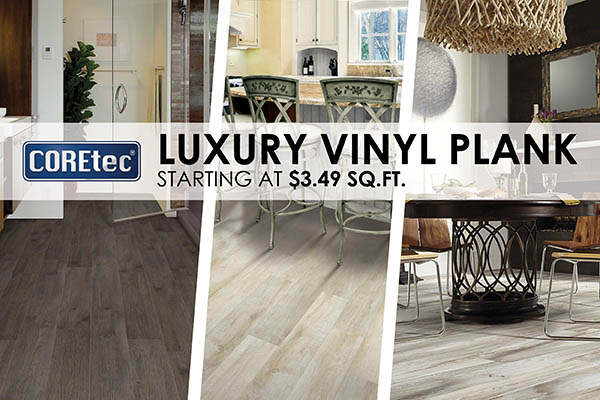 COREtec luxury vinyl plank starting at $3.49 sq.ft.