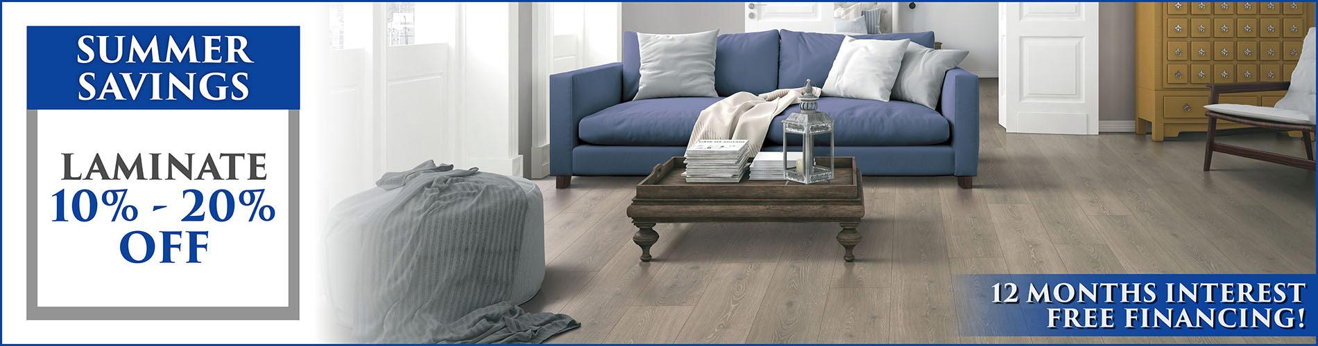 Take 10% - 20% off of laminate flooring during our Summer Savings!