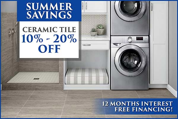 Take 10% - 20% off tile during our Summer Savings!