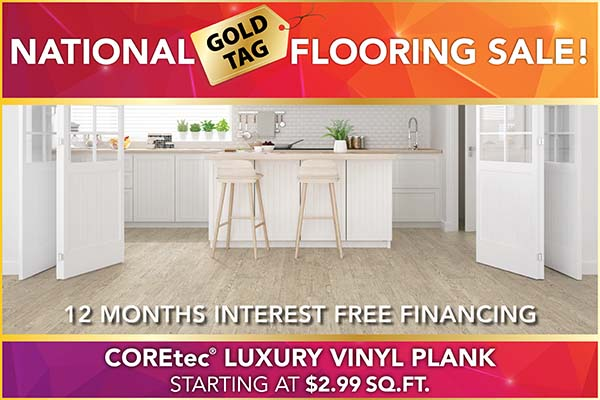 National Gold Tag Sale COREtec Luxury Vinyl Plank Flooring $2.99 Sq.Ft.